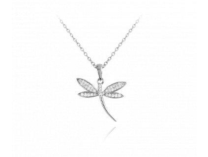 Stříbrný náhrdelník MINET VÁŽKA s bílými zirkony