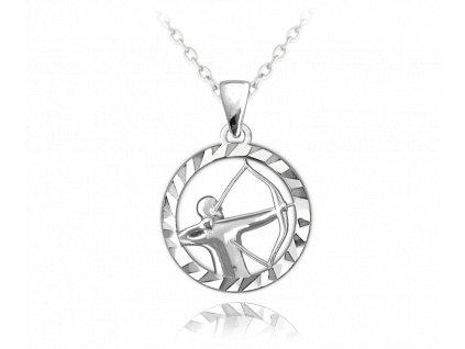 Stříbrný náhrdelník MINET Zodiac znamení STŘELEC