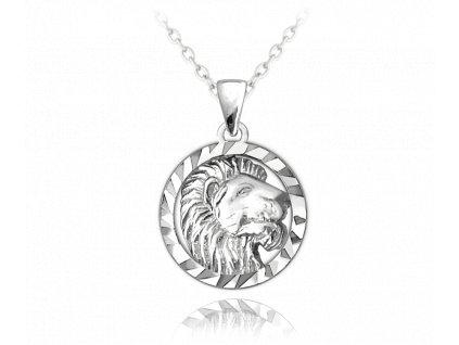 Stříbrný náhrdelník MINET Zodiac znamení LEV