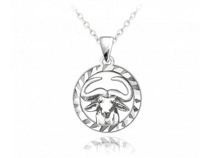 Stříbrný náhrdelník MINET Zodiac znamení BÝK