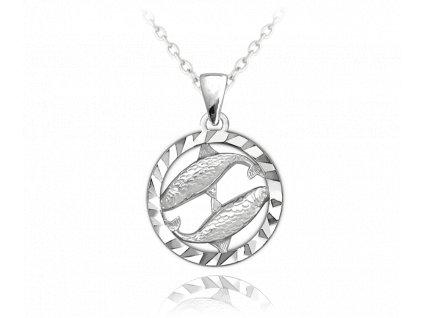Stříbrný náhrdelník MINET Zodiac znamení RYBY