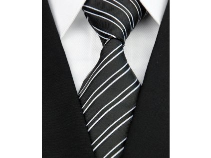 Hedvábná kravata černá NT0131