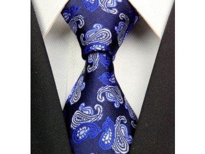 Kašmírová hedvábná kravata modrá NT0317