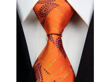 Hedvábná kravata oranžová NT0318