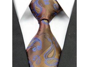 Kašmírová hedvábná kravata hnědá NT0256