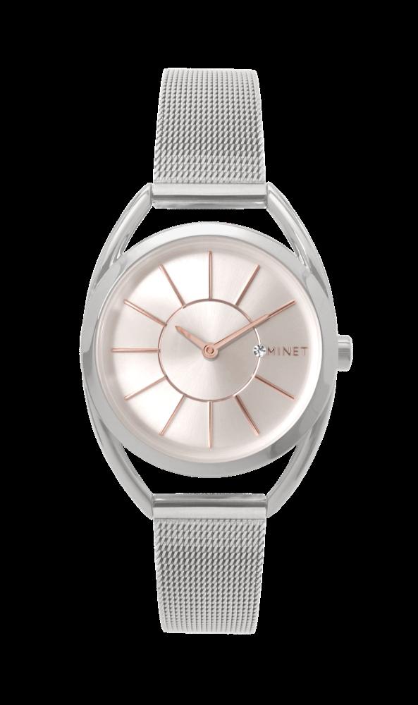 Stříbrné dámské hodinky MINET ICON SILVER ROSE MESH 6ffe7d2ce3