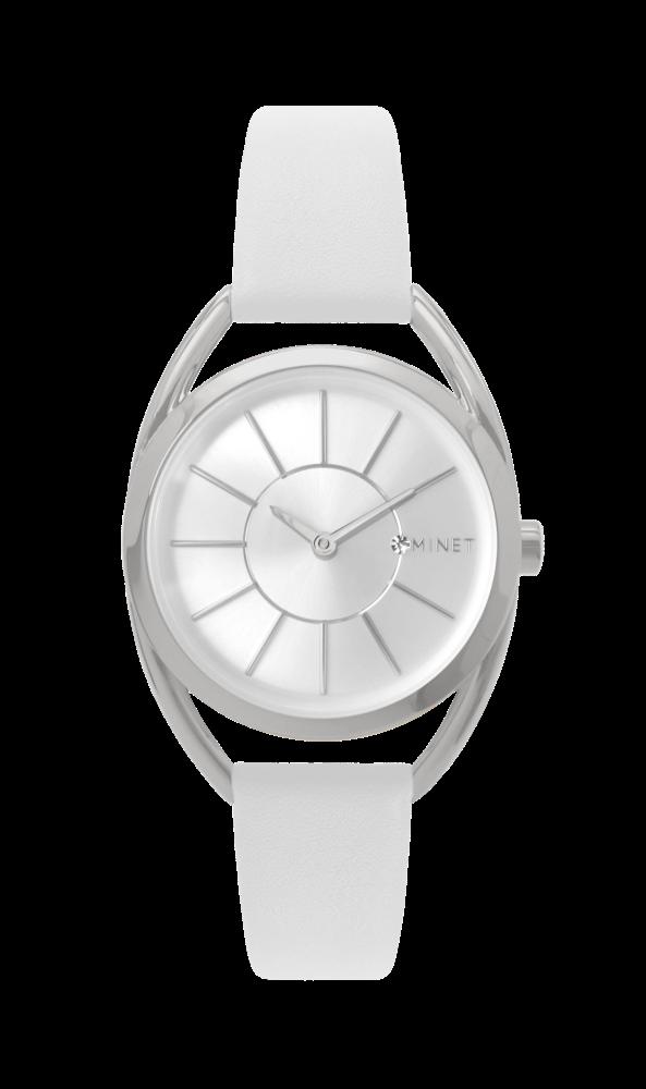 Bílé dámské hodinky MINET ICON SILVER WHITE 3466b7b60e