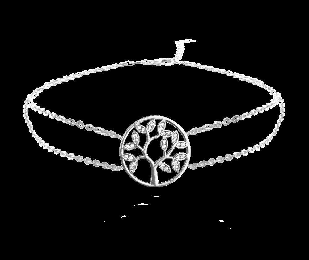 Stříbrný náramek MINET STROM ŽIVOTA s bílými zirkony JMAS5025SB18