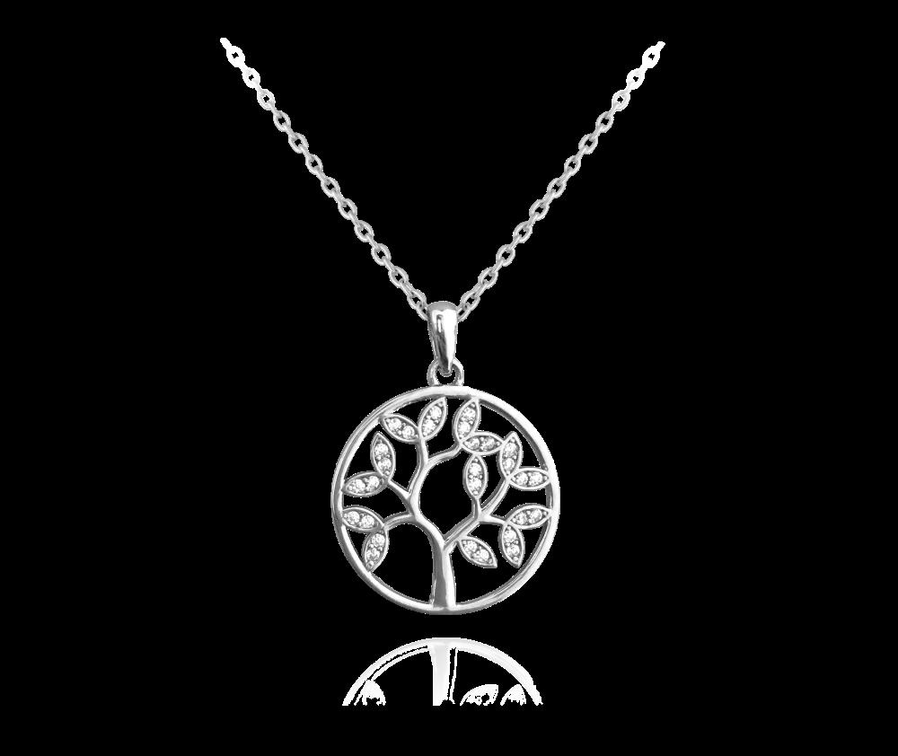 Stříbrný náhrdelník MINET STROM ŽIVOTA s bílými zirkony JMAS5025SN45