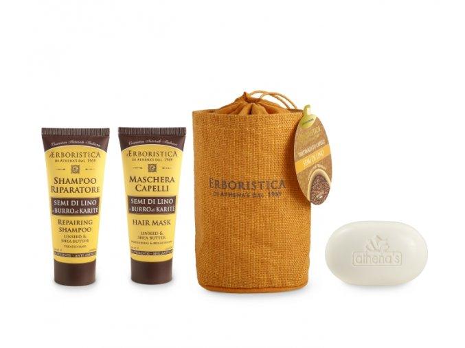 Athena's Jutový vak šampon se lněným olejem+maska se lněným olejem+mýdlo