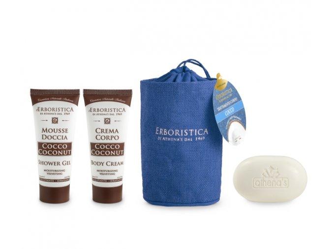 Athena's Jutový vak kokosový sprchový gel+tělový krém+mýdlo