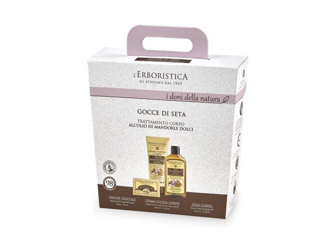 Athena's Kosmetická sada Tělový krém, tělový olej a přírodní mýdlo s mandlovým olejem v dárkovém balení