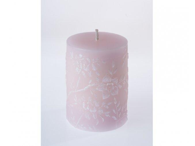 EDG Italia svíčka s květinovým dekorem růžová nebo modrá