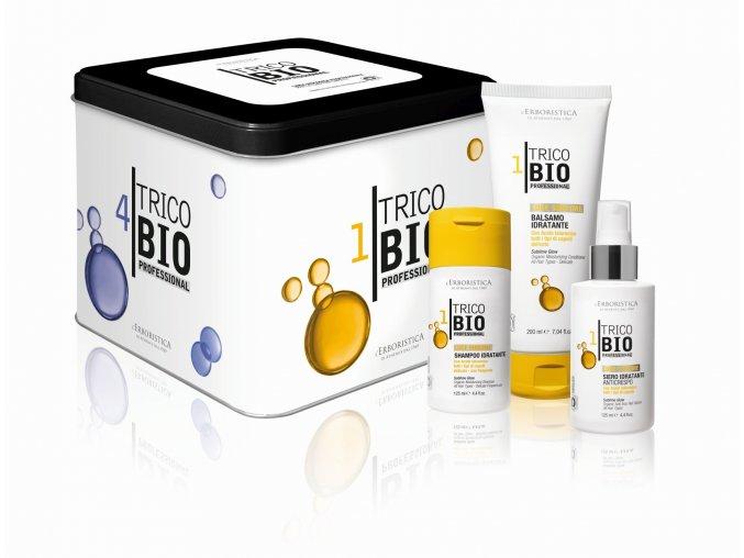 Erboristica TricoBio Sublime Glow box: hydratační vlasový šampon 125 ml + kondicionér 200 ml + vlasové sérum 125 ml