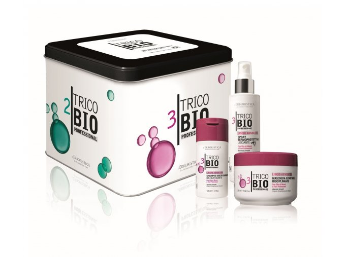 TricoBio Absolute smooth box: šampon na hladké vlasy 125 ml + vlasová maska 200 ml + termo ochranný spray 150 ml