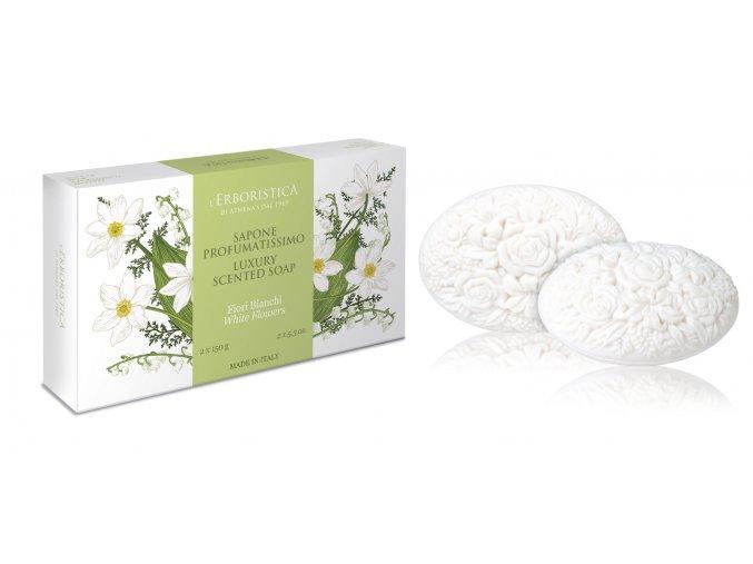 Erboristica dárkové balení dekorační parfémované mýdlo s vůní bílých květůí 2x150 g