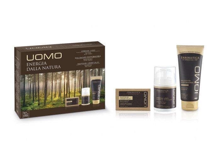 Erboristica UOMO Sada pleťová péče pro muže balzám po holení 100 ml+pleťový krém 50 ml+tuhé mýdlo 125 g
