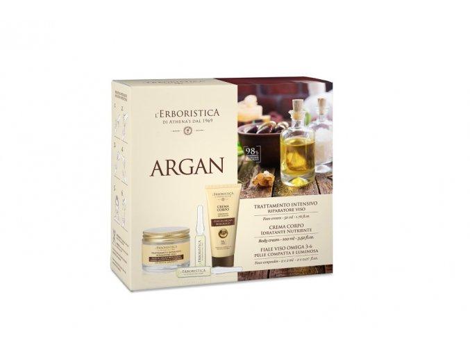 Erboristica kosmetická sada Argan - Pleťový krém proti vráskám 50 ml + Tělový krém zpevňující 100 ml + Vyplňující koncentrát ampule 2 x 2 ml