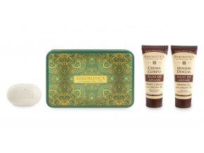 Athena's Kovový box se sprchovým gelem s arganovým olejem+tělovým krémem s arganovým olejem+mýdlem