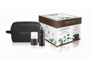 Erboristica UOMO box pro muže: pleťový krém proti vráskám 50 ml + deodorant 100 ml + kosmetická taška