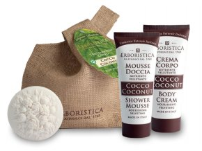 Athena's Kosmetická sada s vůní kokosu sprchový gel 100 ml + tělový krém 100 ml + mýdlo 100 g