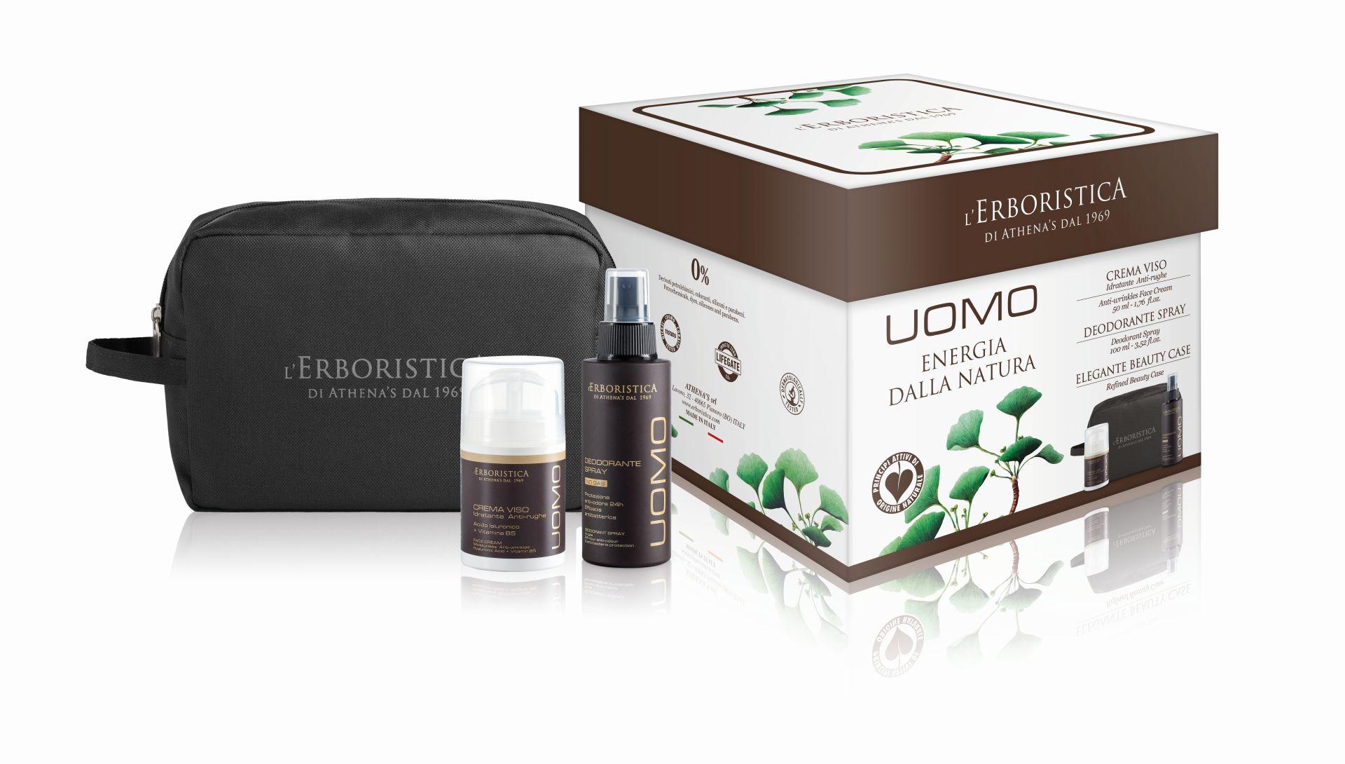 ERBORISTICA di Athena's Erboristica UOMO box pro muže: pleťový krém proti vráskám 50 ml + deodorant 100 ml + kosmetická taška