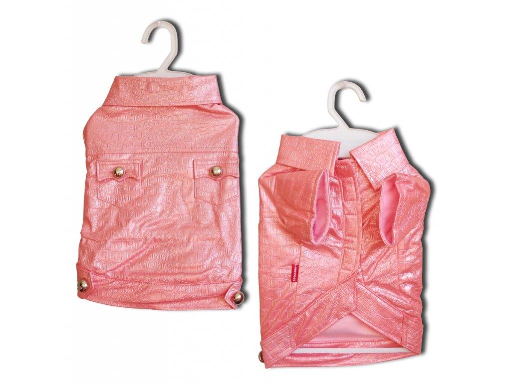 Kabátek Croco Artificial Leather Pink XS