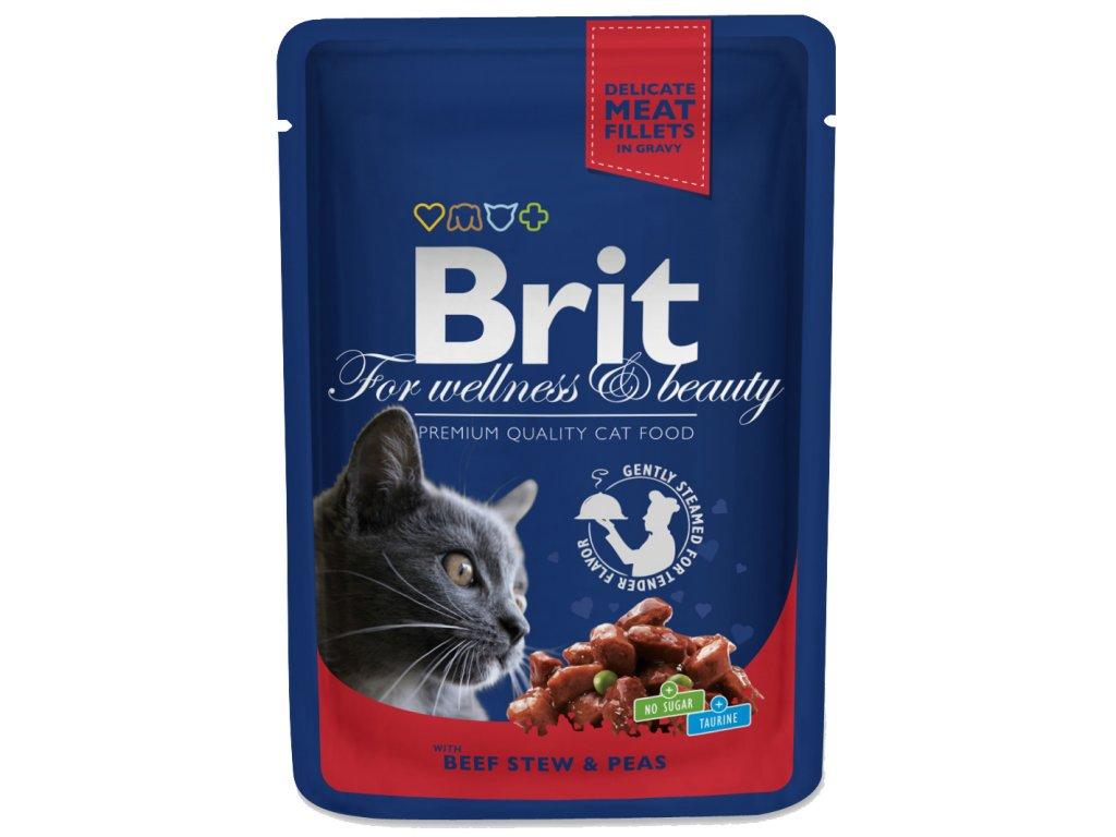 Brit Premium Cat Pouches s hovězím a hráškem 100g