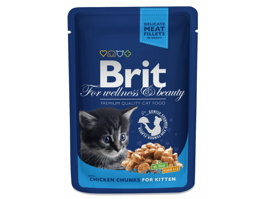 Brit premium cat pouches kuřecí kousky pro koťata 100g