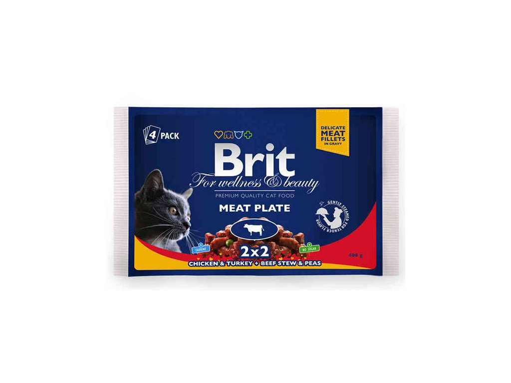 Brit Premium Cat Pouches MASOVÝ MIX 400g (krocan/kuře, hovězí/hrášek)