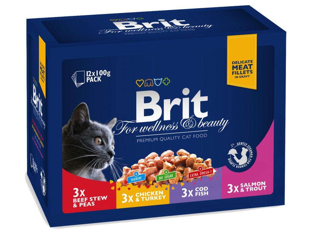 Brit Premium Cat Pouches MASOVÝ a RYBÍ MIX 1200g (kuře, hovězí, treska, pstruh)