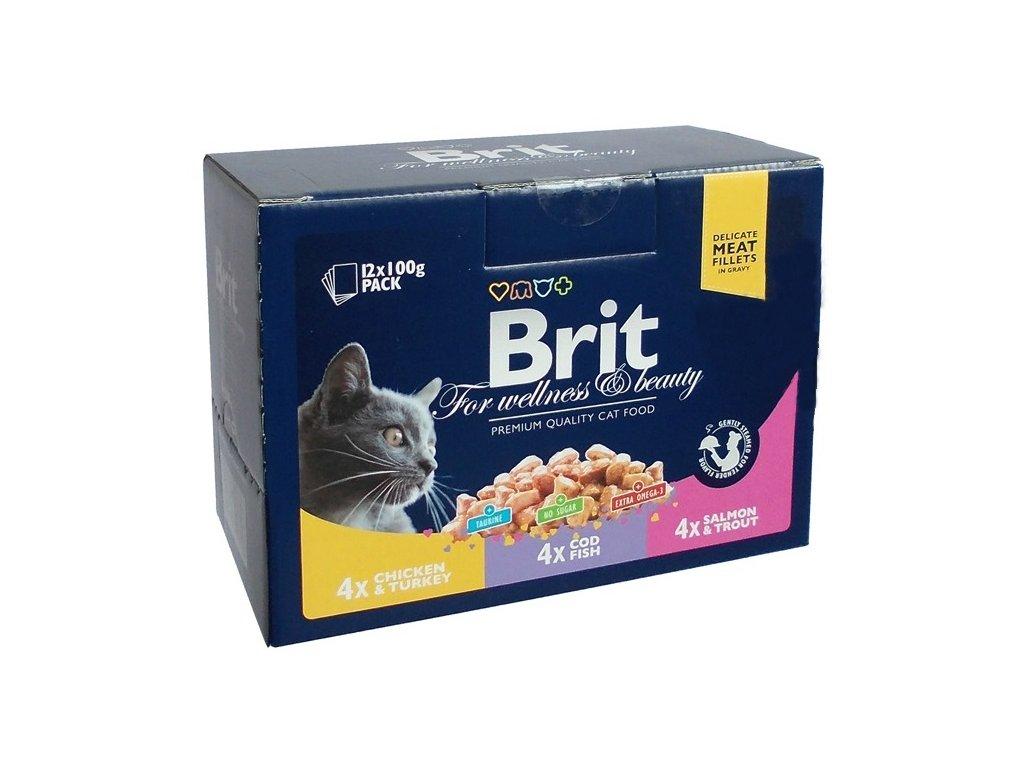 Brit Premium Cat Pouches MASOVÝ a RYBÍ MIX 1200g (kuře/krůta, treska, losos/pstr