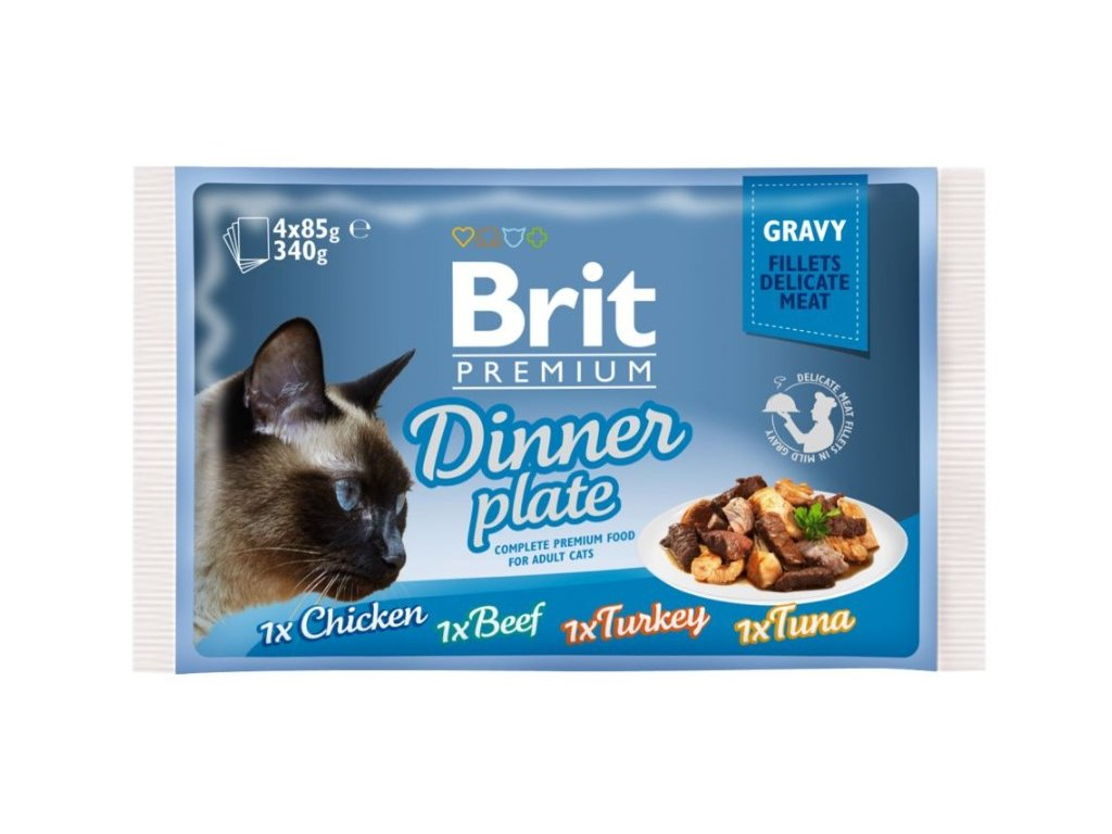 Brit Premium Cat Delicate Fillets in Gravy Dinner Plate 340g (4x85g)