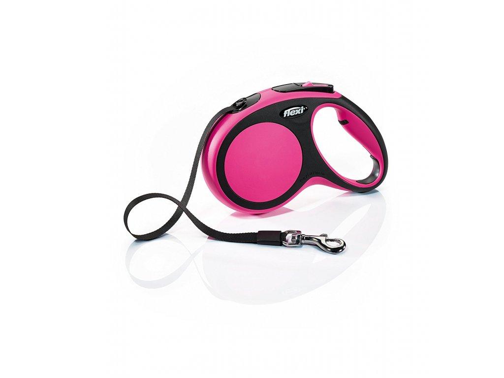 Vodítko Flexi Comfort M 5m (max 25kg) pásek růžová