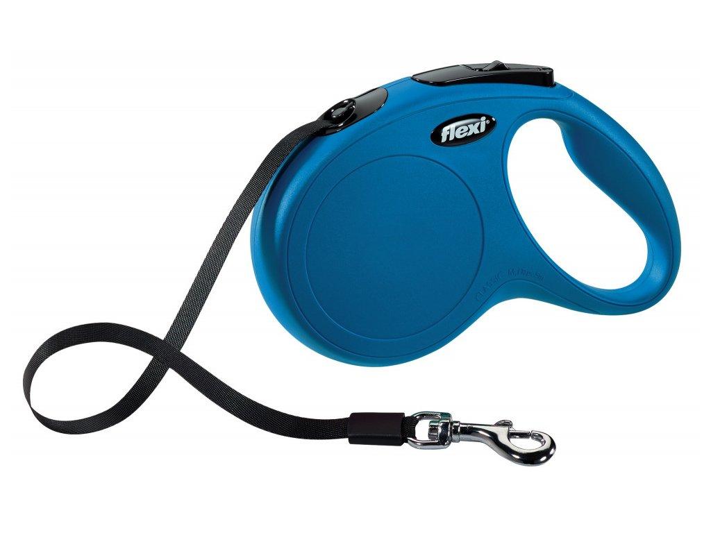 Vodítko Flexi Classic S 5m (max 15kg) pásek modrá