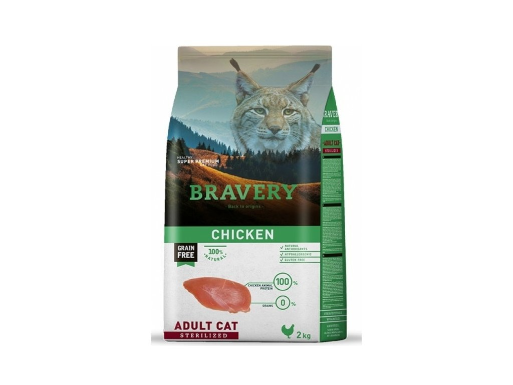 BRAVERY cat STERILIZED Grain Free chicken 2kg