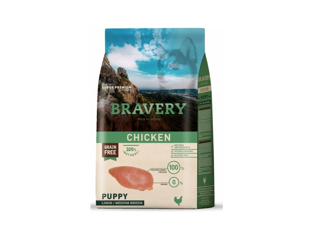 BRAVERY dog PUPPY Large / Medium Grain Free chicken 12kg | Tenesco.cz