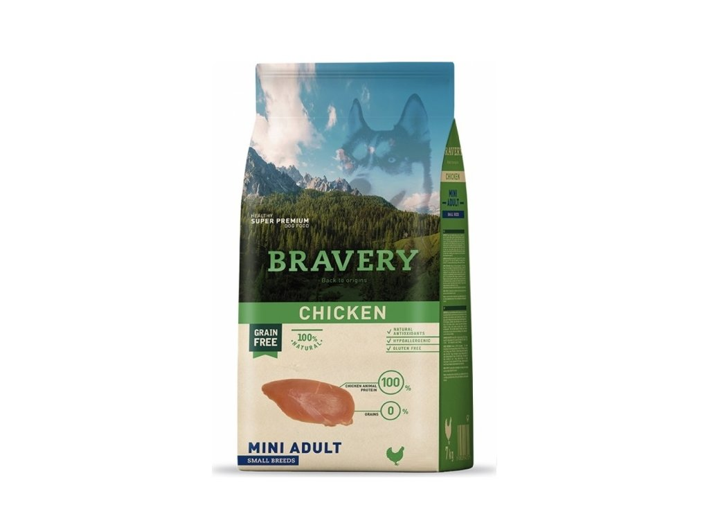 BRAVERY dog ADULT MINI Grain Free chicken 7kg | Tensco.cz