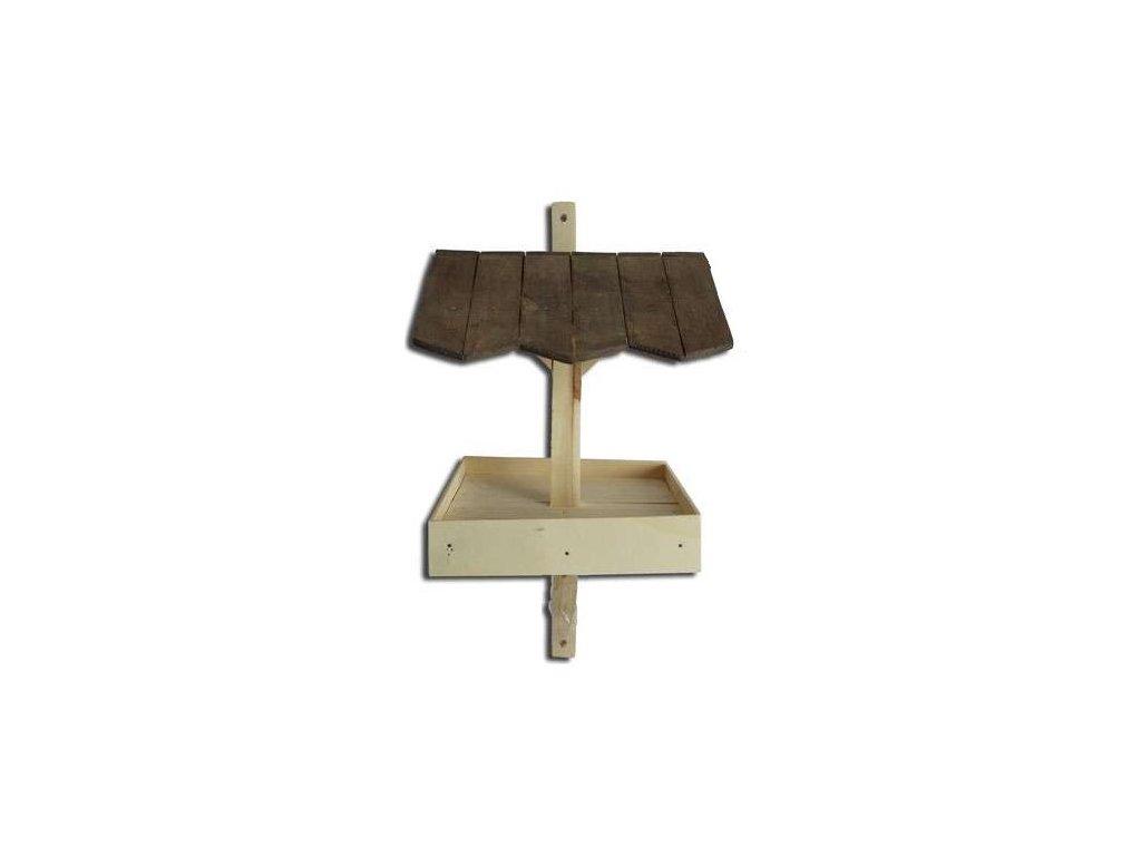 Dřevěné krmítko na zeď a sloupek