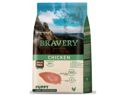 BRAVERY dog PUPPY Large / Medium Grain Free chicken 4kg | Tenesco.cz