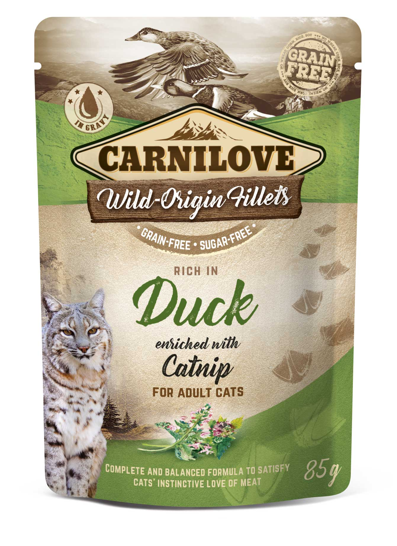 Carnilove Cat Pouch Rich in Duck Enriched with Catnip 85g 20 + 4 ZDARMA