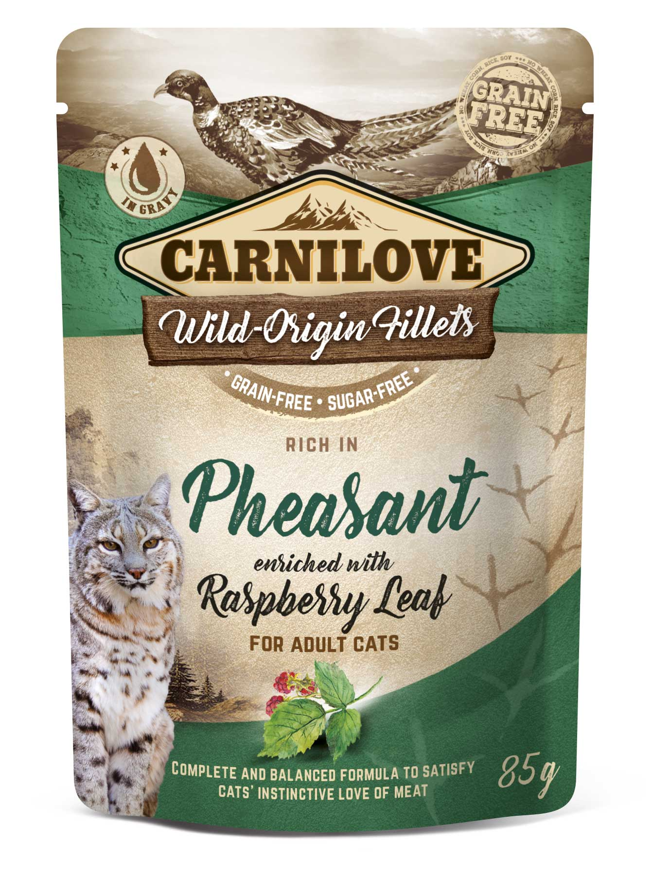 Carnilove Cat Pouch Rich in Pheasant Enriched with Raspberry Leaves 85g 20 + 4 ZDARMA
