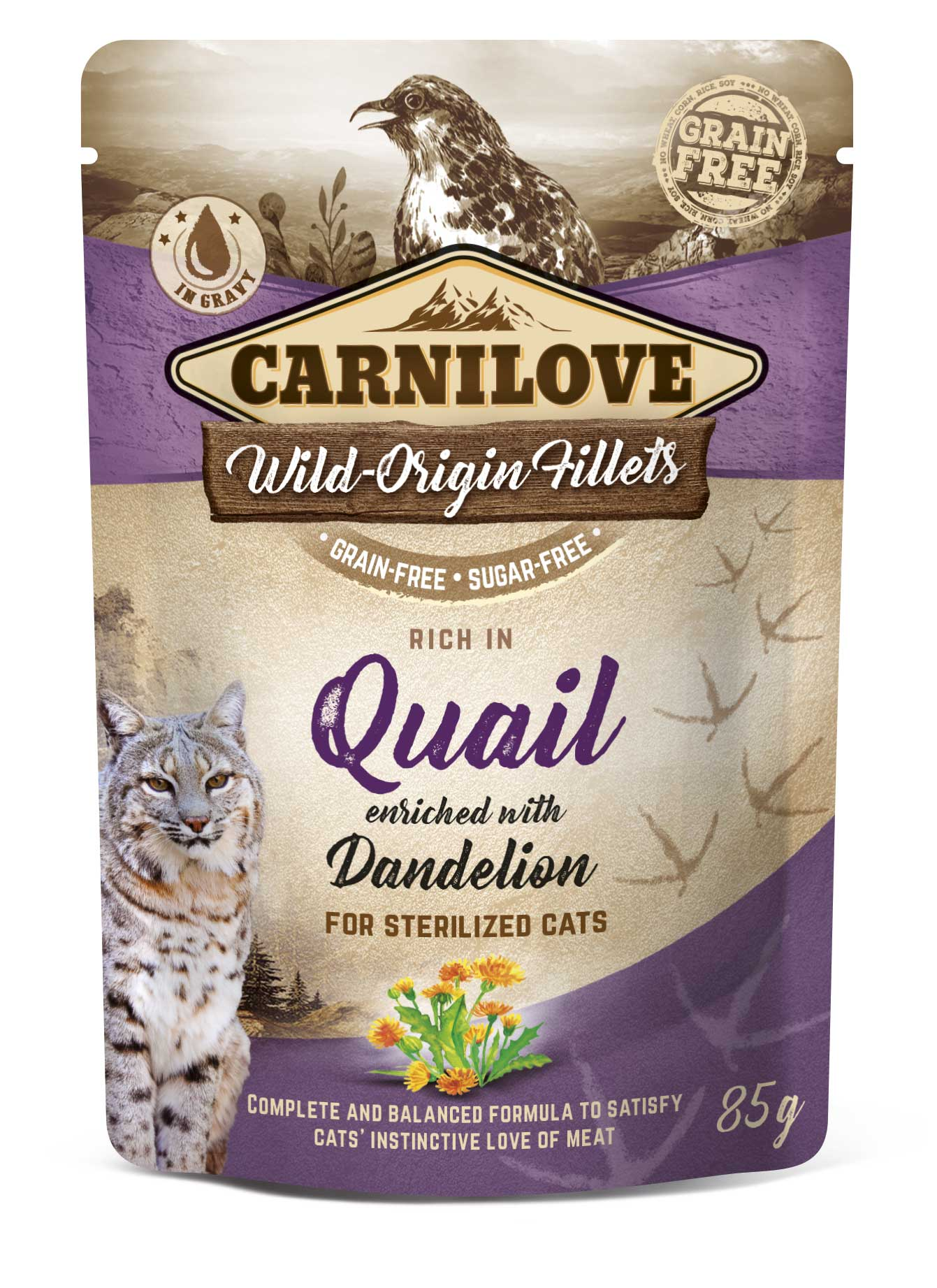 Carnilove Cat Pouch Rich in Quail Enriched with Dandelion for sterilized 85g 20 + 4 ZDARMA