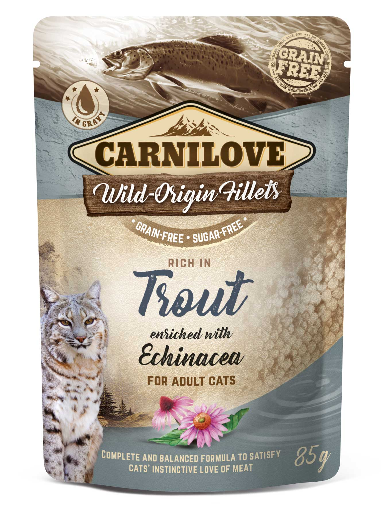 Carnilove Cat Pouch Rich in Trout Enriched with Echinacea 85g 20 + 4 ZDARMA