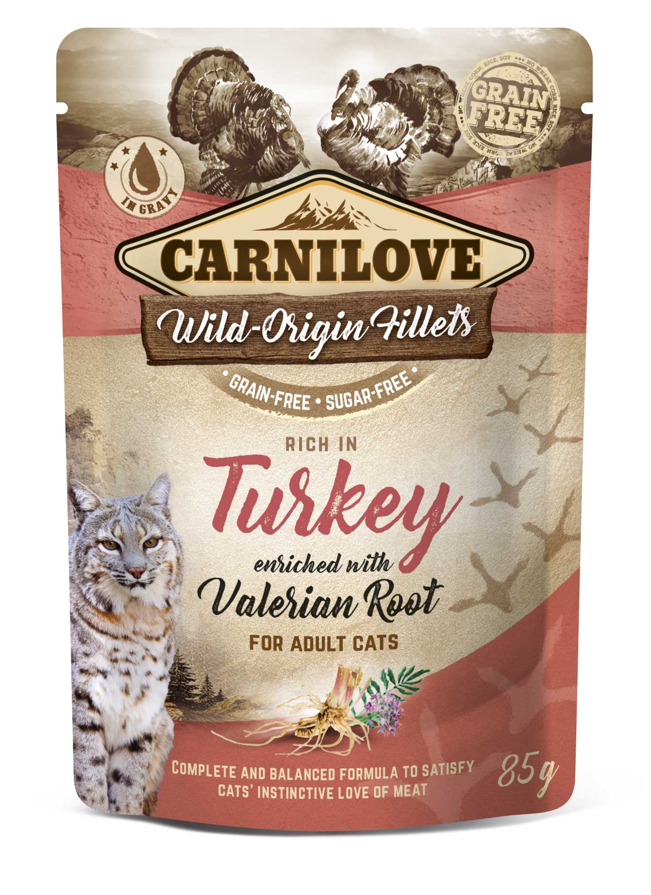 Carnilove Cat Pouch Rich in Turkey Enriched with Valerian 85g 20 + 4 ZDARMA