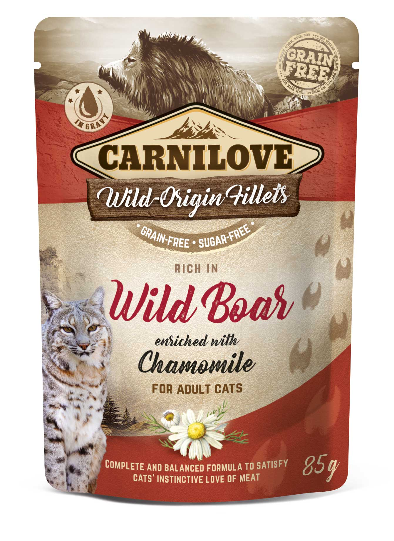 Carnilove Cat Pouch Rich in Wild Boar Enriched with Chamomile 85g 20 + 4 ZDARMA