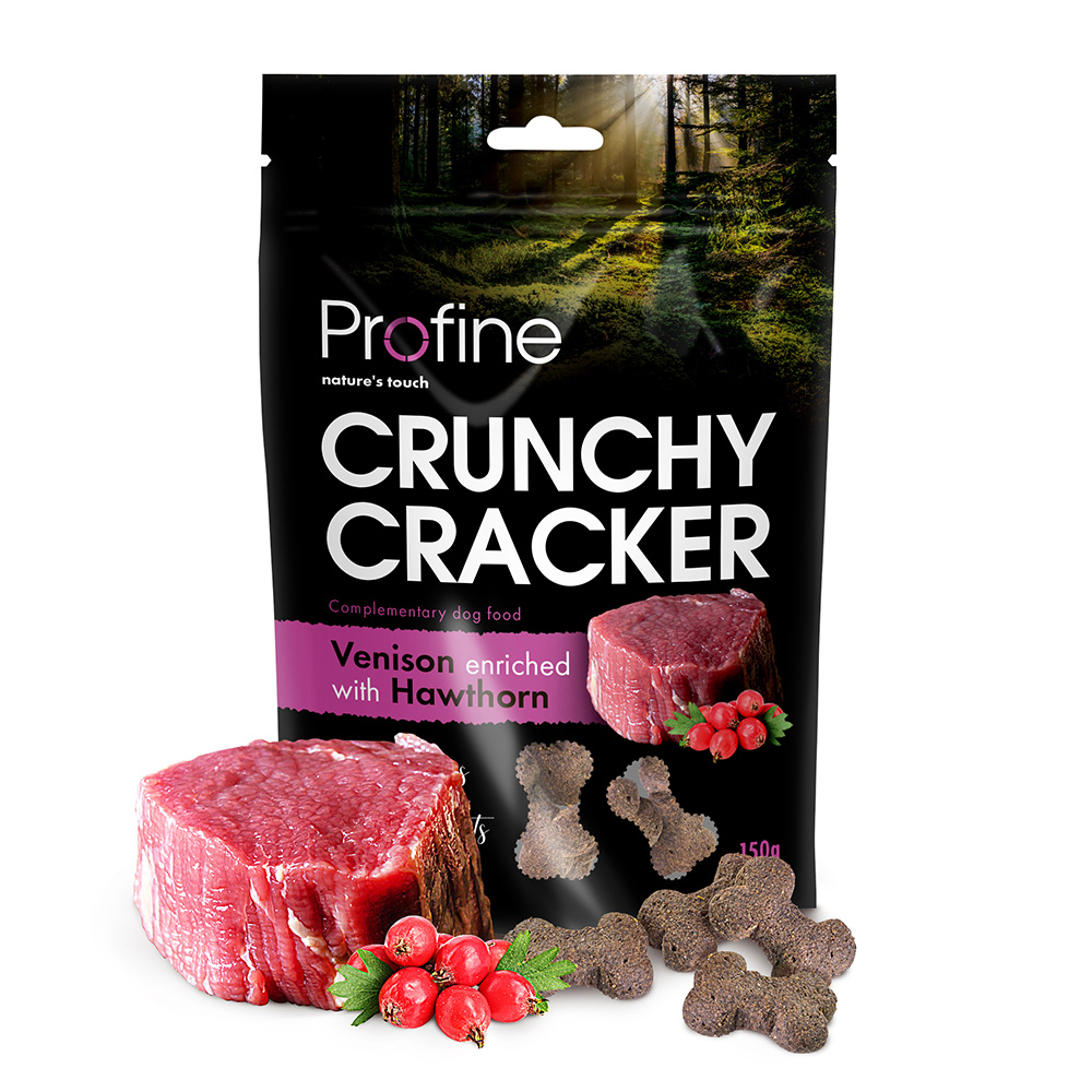 Profine Dog Crunchy Cracker Venison enriched with Hawthorn 150 g 5+1 ZDARMA