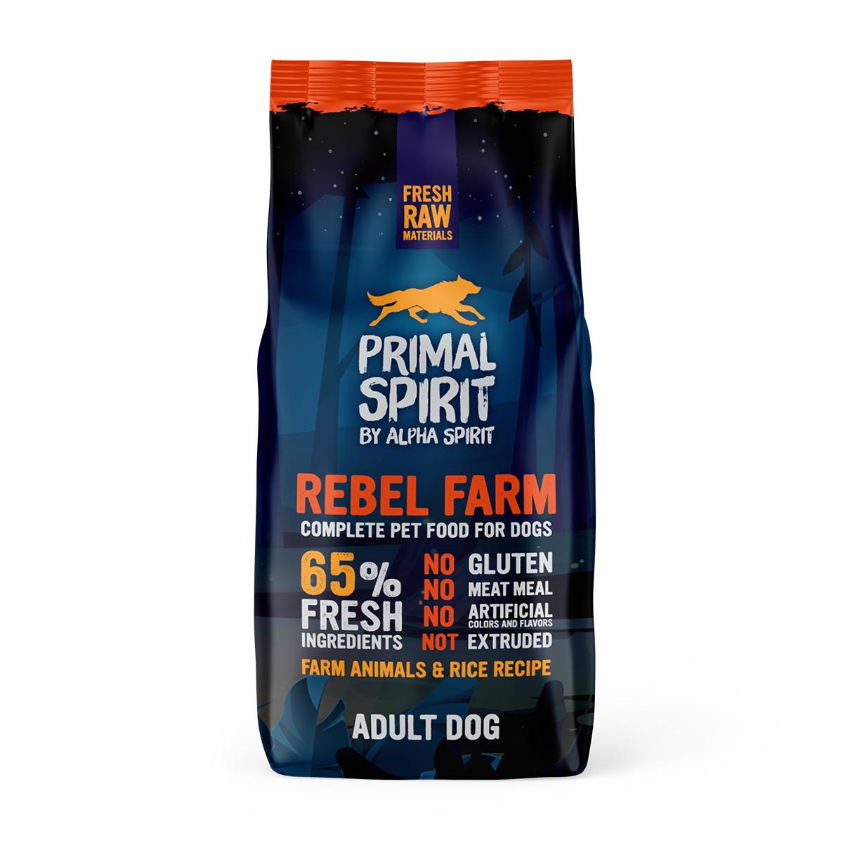 Primal Spirit Dog 65% Rebel Farm 12 kg