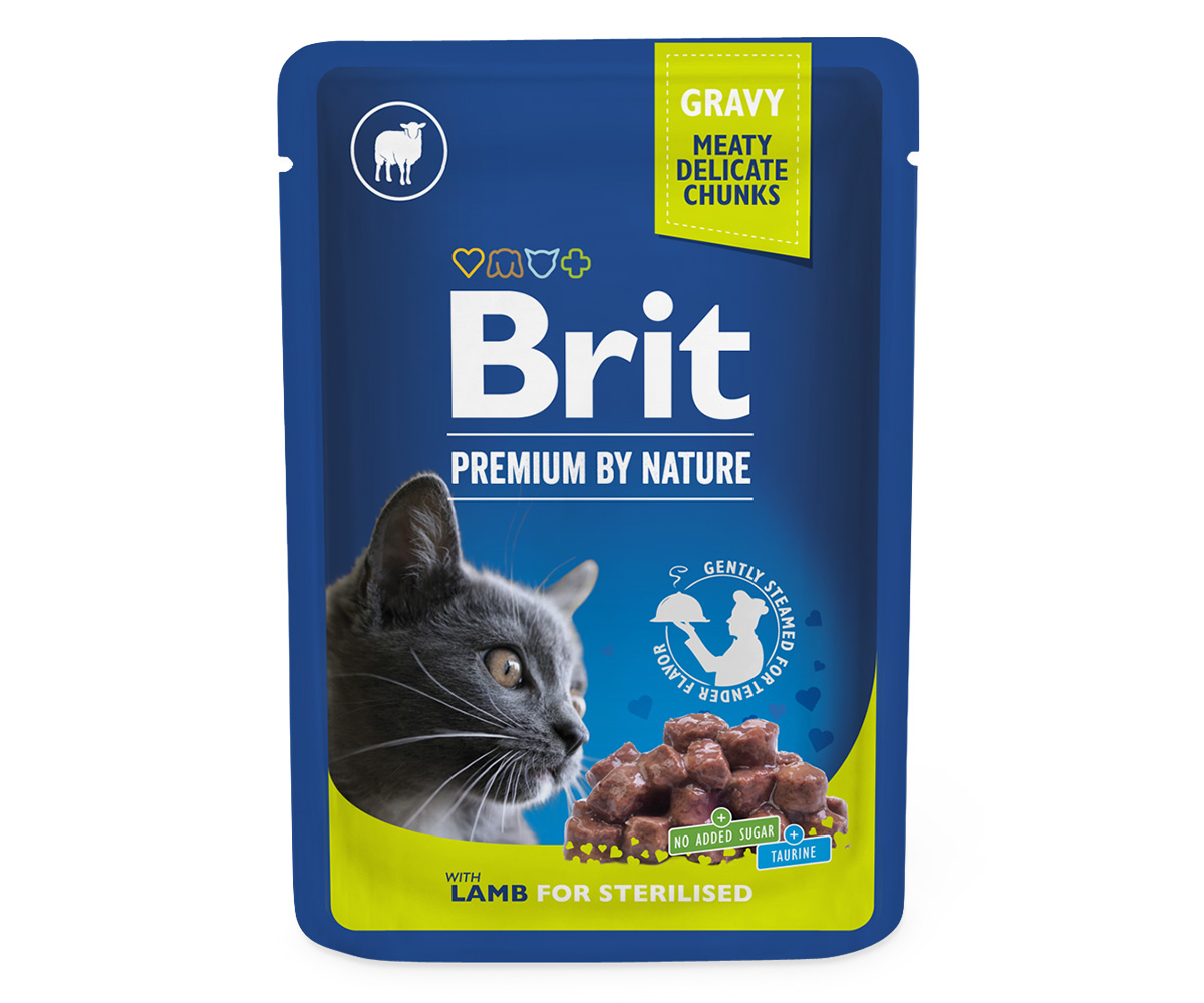 Brit Premium Cat Pouches Lamb for Sterilized 100 g 20+4 ZDARMA