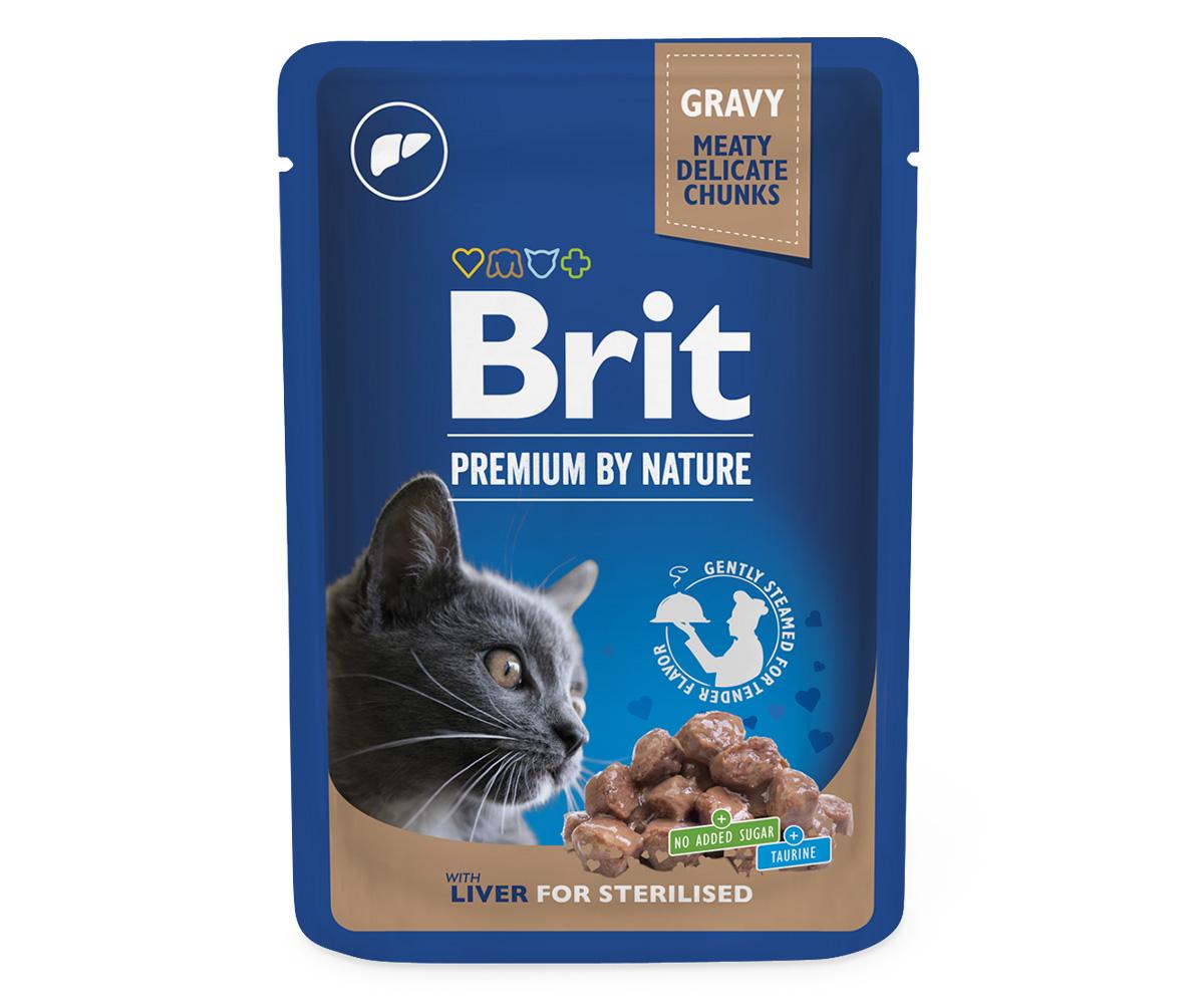 Brit Premium Cat Pouches Liver for Sterilized 100 g 20+4 ZDARMA